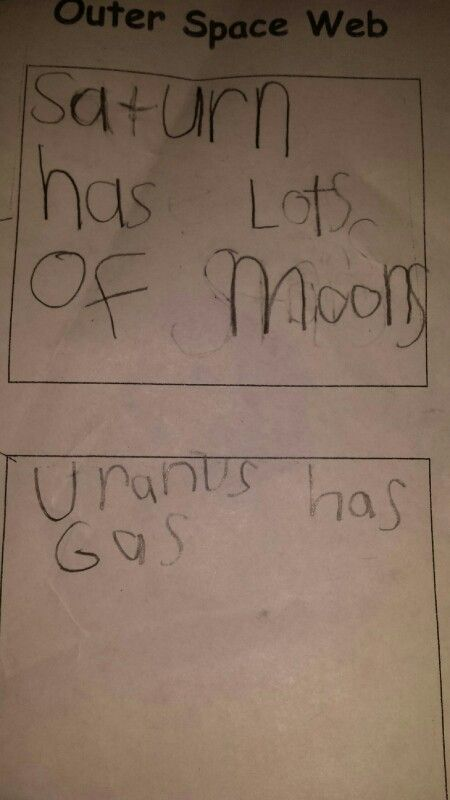 My kindergartner Arianna learning about the planets brought home this paper. She couldn't understand why we were all giggling