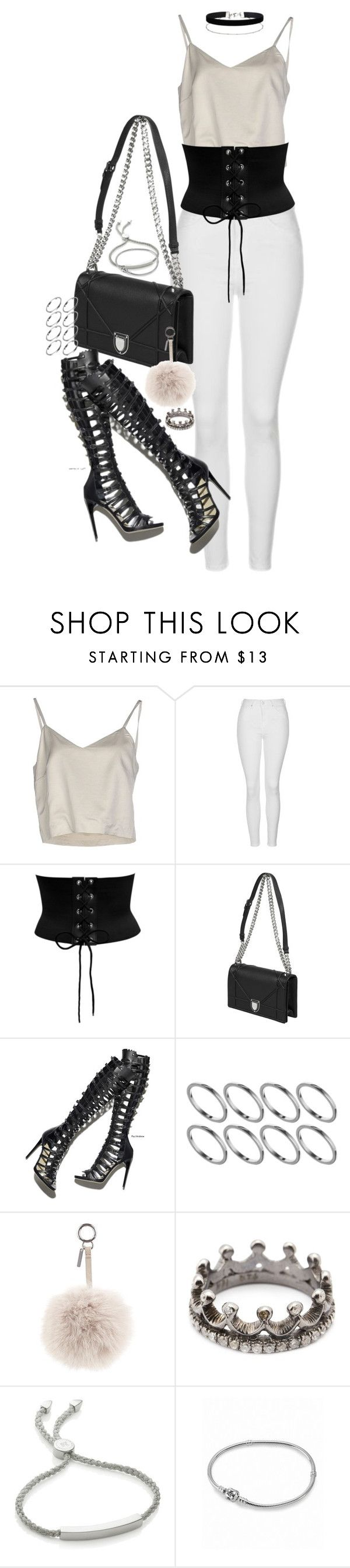 """""""Untitled #150"""" by marinas-clothes ❤ liked on Polyvore featuring Erika Cavallini Semi-Couture, Topshop, ASOS, Fendi, Loree Rodkin, Monica Vinader, Pandora and Miss Selfridge"""