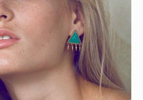 Amazonite triangle stone earrings with dangling spikes. Gold-plated brass. Handmade