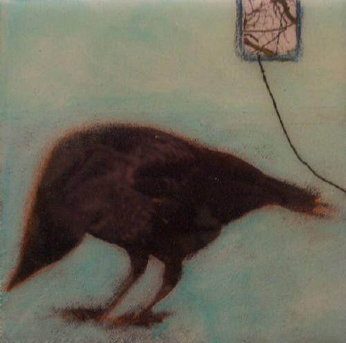 "Nikol Haskova HIDING IN PLAIN SIGHT / Canada House Gallery - mixed media, resin, panel 6"" x 6"""