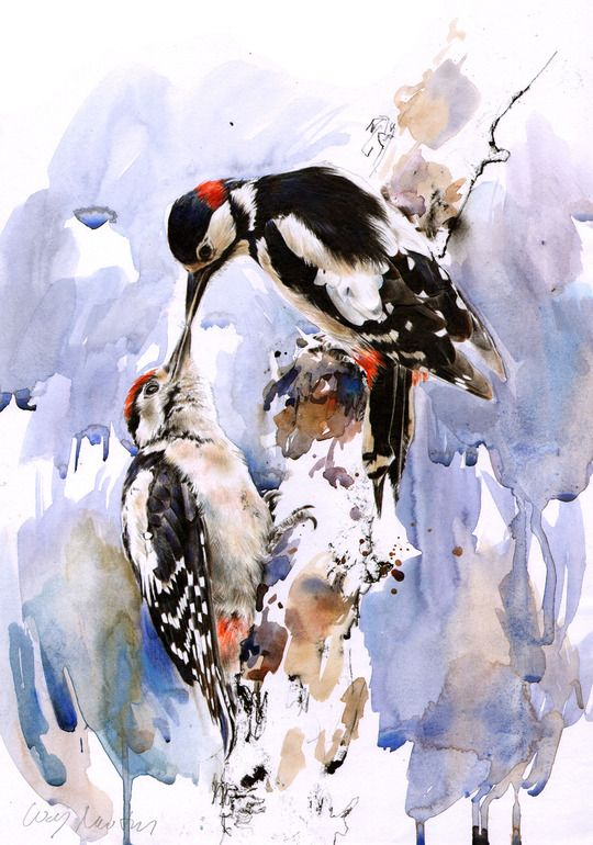 """Saatchi Online Artist: Lucy Newton; Paint, Mixed Media """"Great Spotted Woodpeckers"""""""