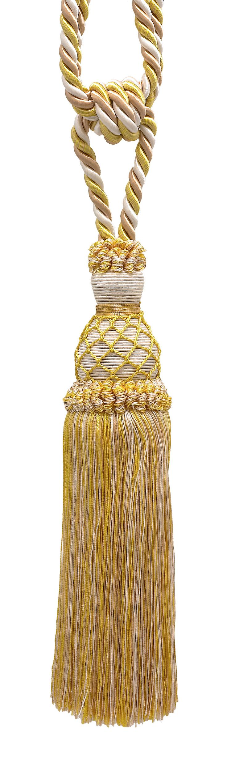 """Elegant Light Gold, Ivory Curtain & Drapery Tassel Tieback / 10"""" tassel, 30 1/2"""" Spread (embrace), 3/8"""" Cord, Imperial II Collection Style# TBIN-1 Color: IVORY GOLD - 2523"""