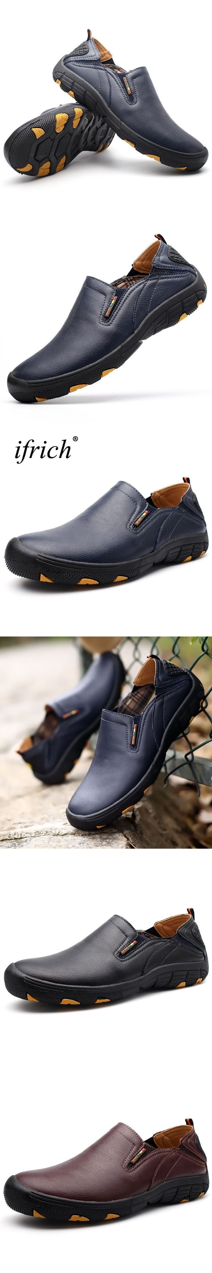 2017 New Leather Outdoor Walking Shoes For Men Slip On Mountain Hiking Shoes Black Trekking Sneakers Men Hiking Shoes #walkingshoes