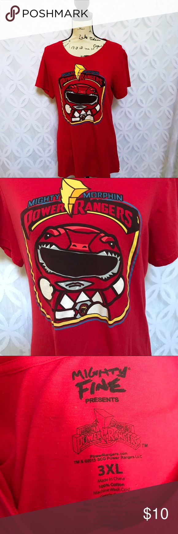 "Mighty Morphin Power Rangers Chibi Red Ranger Tee Mighty Morphin Power Rangers Chibi Ranger Tee Pre owned Great used condition worn once.                                                     Measurements Laying Flat Size 🔹 Juniors Plus 3XL Armpit to Armpit 🔹22"" Shoulder to Hem 🔹28"" Bundle to Save 🤓 Sorry NO outside transactions 🚫 NO trades 🚫 Reasonable Offers welcomed 👍 NO Low balling 👎 NO modeling 👎 NO Holds👎 All items from a pet 😼and Smoke Free Home  Happy Poshing 🤗 Power Ranger…"