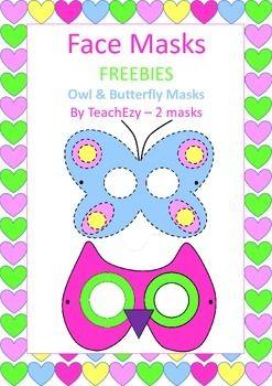 2 face masks to print, colour and cut...an owl and a butterfly.Please follow our store @ https://www.teacherspayteachers.com/Store/Teachezy