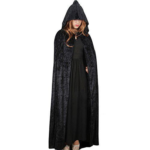 Halloween Black Cape Hooded Cloak Vampire Long Goth Witch
