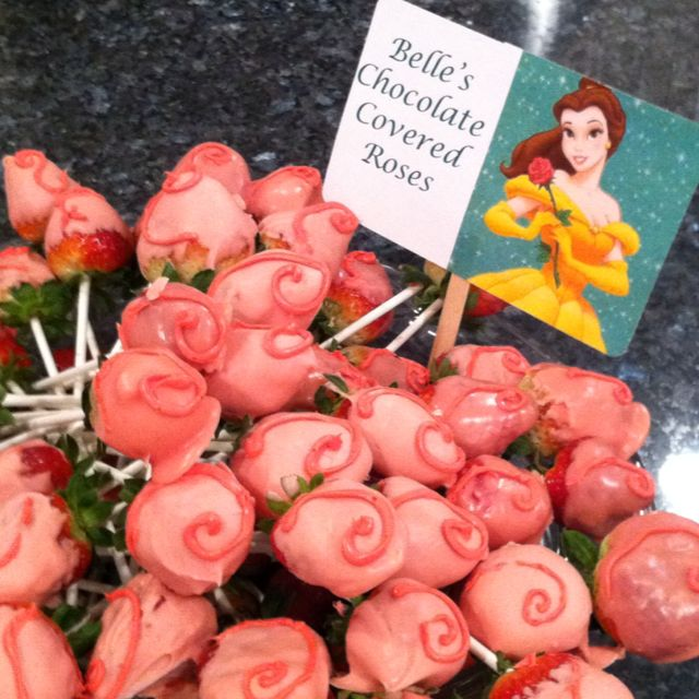 Princess Bell's chocolate covered roses! ( princess themed 1st birthday party food)