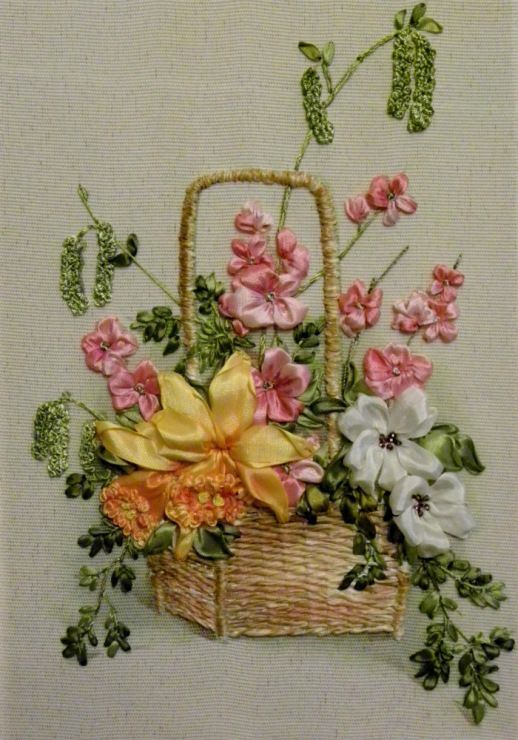 Flowers in a basket ribbon embroidery