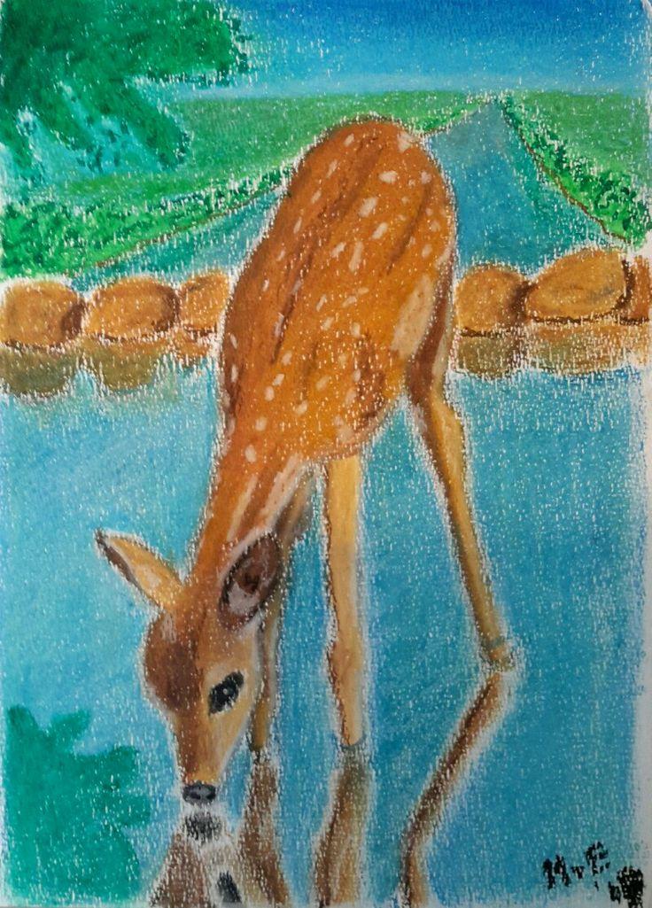Studie voor een poster over #psalm42 #oliepastel #oilpastel #hert #deer