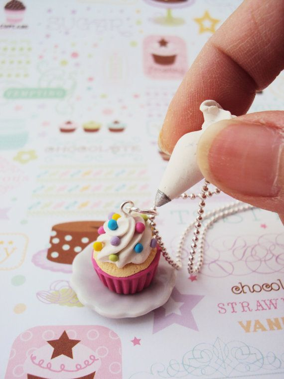 Cupcake with Piping Bag Necklace Polymer Clay by MyMiniMunchies, $12.00. Food Jewelry. Fimo. polymer clay charms