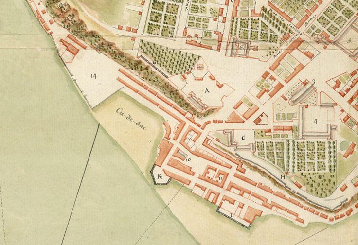 Détail d'un plan de Québec dressé par Gaspard-Joseph Chaussegros de Léry vers 1752. On distingue l'anse du Cul-de-Sac, délimitée à l'ouest par le chantier naval aménagé quelques années auparavant. (Plan de la Ville de Québec, capitale de la Nouvelle France, Gaspard-Joseph Chaussegros de Léry, vers 1752, ANOM, Dépôt des Fortifications des Colonies, FR ANOM 03DFC436A)