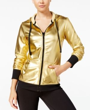 Material Girl Active Juniors' Metallic Hoodie, Only at Macy's - Gold XXS