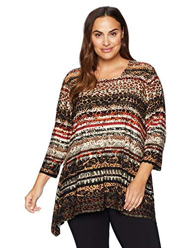 5775596f4c Beautiful Ruby Rd. Women's Plus Size Printed 3/4 Sleeve Knit Top with  Sharkbite