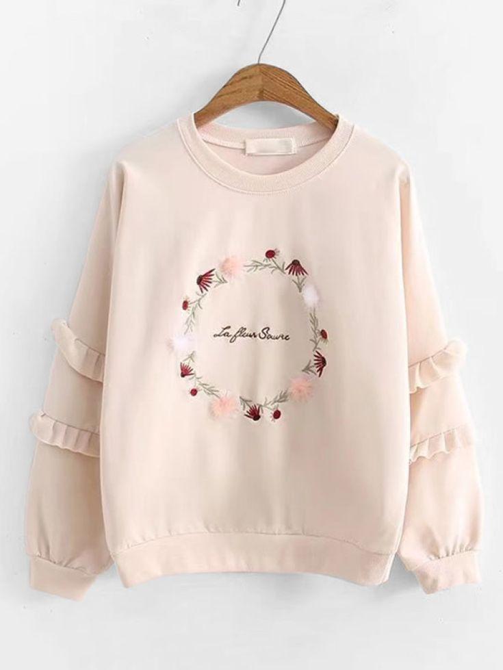 Frill Sleeve Garland Embroidery SweatshirtFor Women-romwe