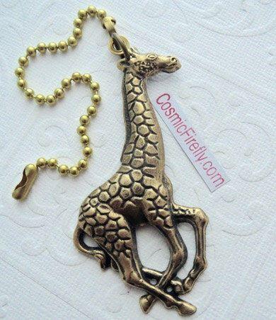 Big Giraffe Fan Pull Steampunk Ceiling Fan Pull Chain Antiqued Brass Metal Victorian Animal Fan Pull by CosmicFirefly on Etsy https://www.etsy.com/listing/191258613/big-giraffe-fan-pull-steampunk-ceiling