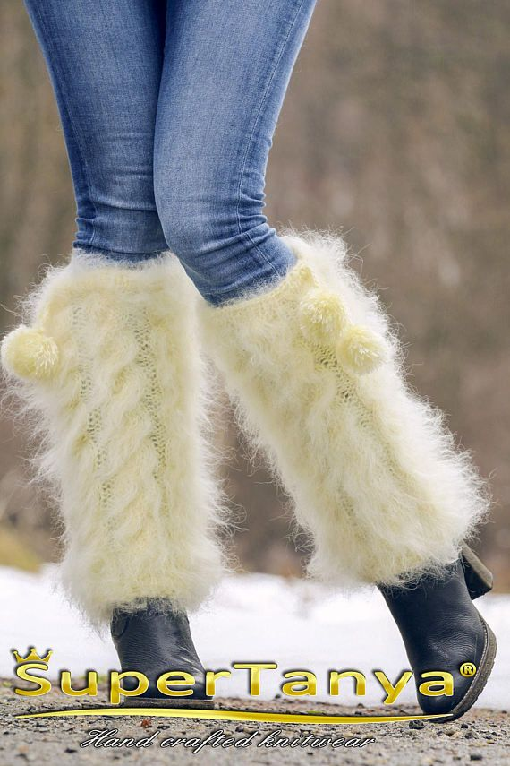 Fuzzy white cable knit mohair gaiters spats leg warmers by