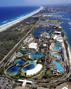 Wonderful Sea World on the Gold Coast - rides, marine shows, and noted for playing a role in marine research and rescue