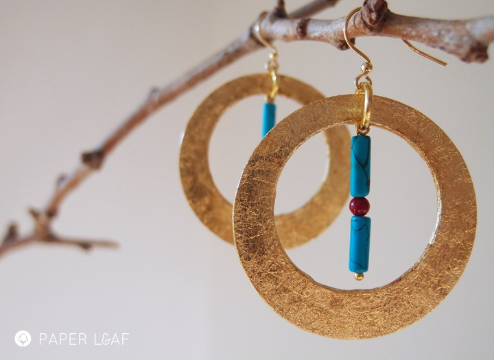 Yucatan | paper earrings | cotton cardstock, faux gold leaf, azul howlite and red glass beads