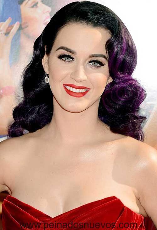 Katy Perry Hermoso Peinado con Púrpura Oscuro Color Múltiple
