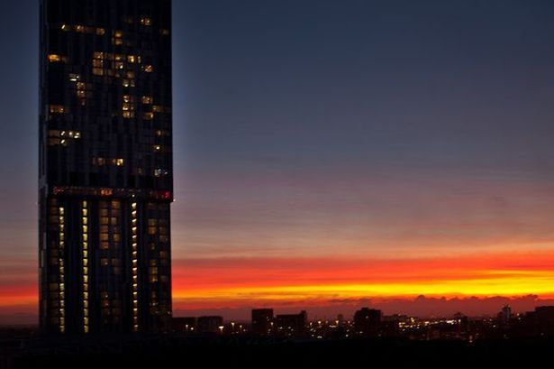 Sunset over the Hilton in Manchester