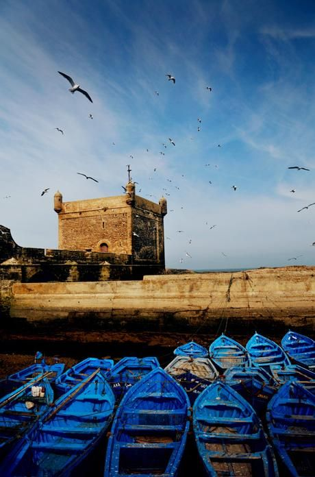 blue boats in Morocco - want to see the coast - have been only to Marrakesh & Atlas Mts so far