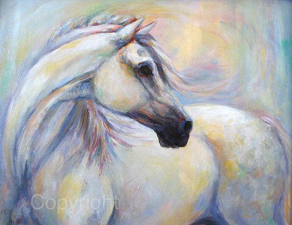 Horse Oil Painting-Horse Art-Horse Decor-On Canvas-'Heavenly Horse'