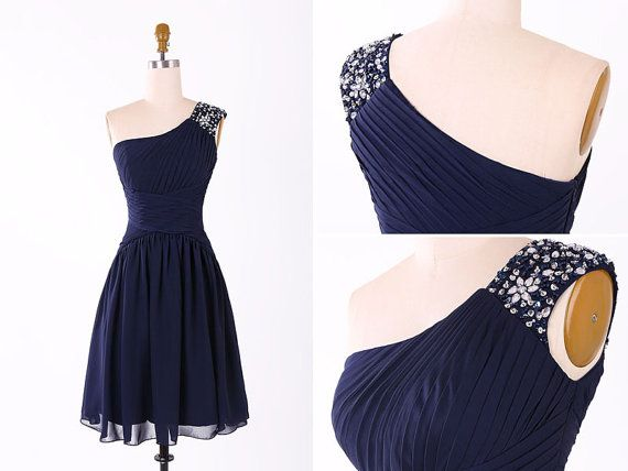 Navy Blue One Shoulder Beading Chiffon Short Bridesmaid Dress/Wedding Party Dress/Maid of Honor Dress/One Shoulder Bridesmaid Dress EM854
