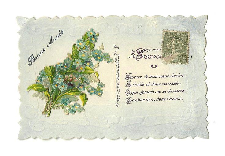 Embossed Die-Cut Flower Postcard, French Antique Happy New Year Card, Cornflower Illustration, illustrated Souvenir Poem Card, Scrapbooking