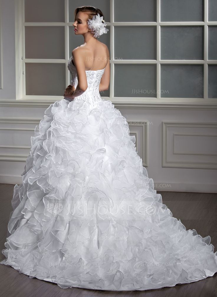 Ball-Gown Sweetheart Court Train Satin Organza Wedding Dress With Beading Sequins Cascading Ruffles (002004530) - JJsHouse