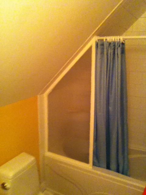 Slanted Ceiling Attic Bathroom Ideas, Odd Shaped Shower Curtain Rods
