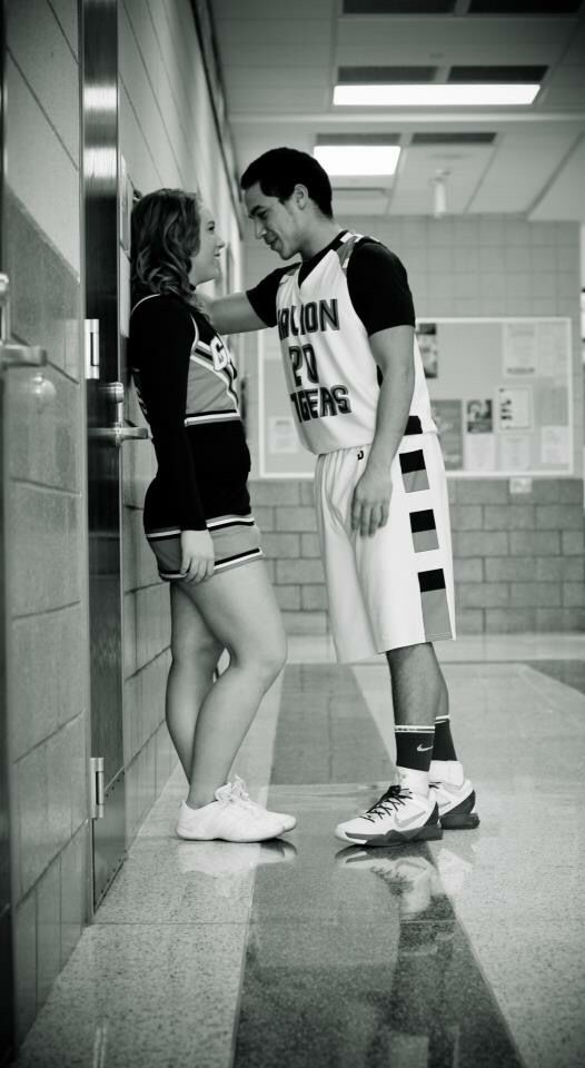 The basketball player and the cheerleader. #seniorpictures