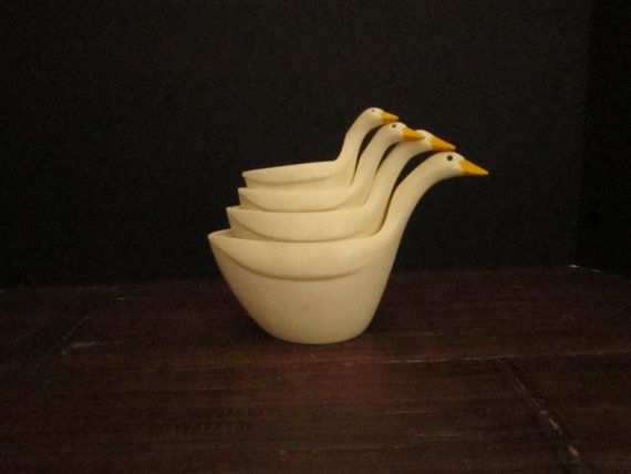 SOLD - Vintage Nesting Stacking Geese Measuring Cups  Set of by vertzvkv, $14.00