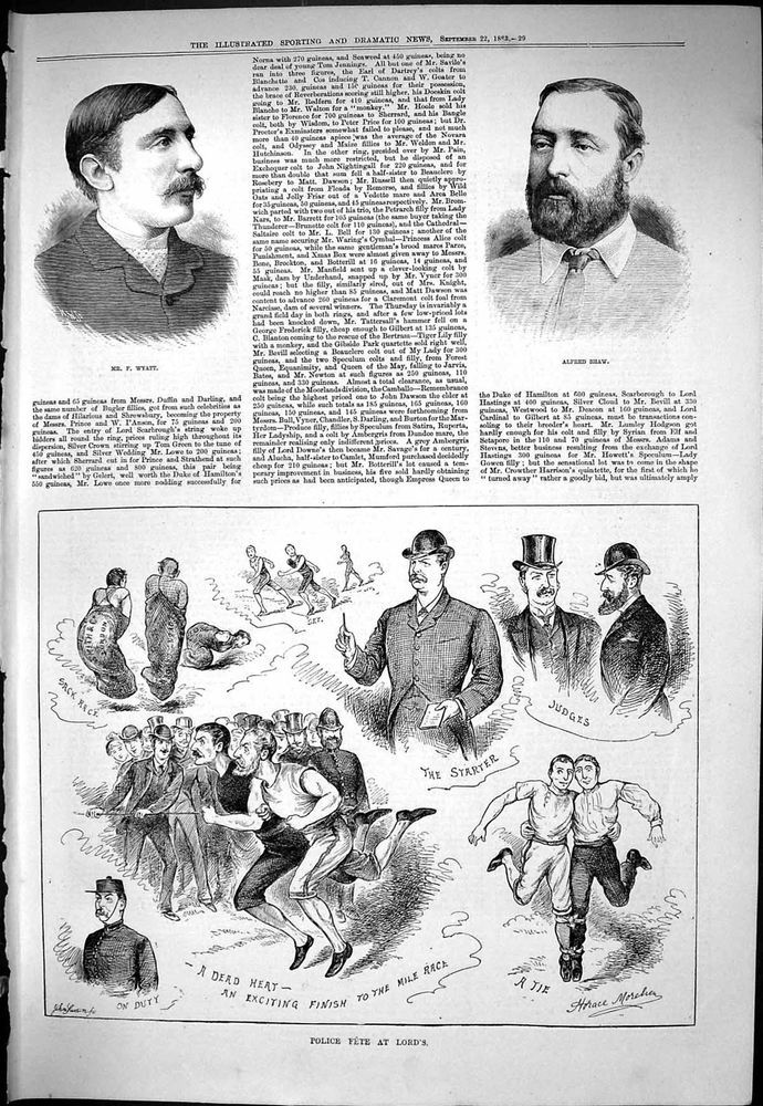 Antique Print of Sporting Dramatic News 1883 Wyatt Alfred Shaw Police Fete Lords