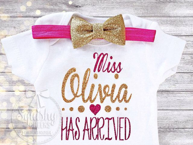 Newborn Baby Girl Outfit, Personalized Newbon Bodysuit, Unique Baby Shower Gift, Baby Annoucement, NO SHED Glitter Newborn Girl Clothes by BabySquishyCheeks on Etsy https://www.etsy.com/listing/261063127/newborn-baby-girl-outfit-personalized