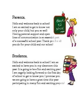 Welcome Back to School letter for Students and Parents