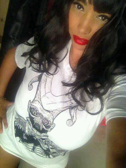 Glamour model Charmaine Sinclair modelling our Jester Tshirt.