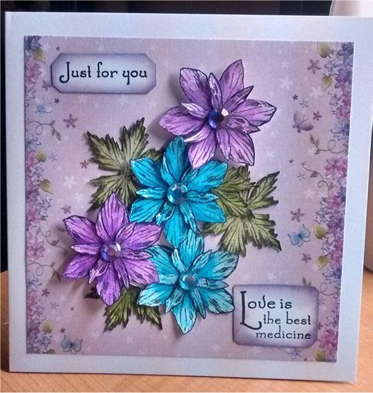 using Sheena Douglas floral stamps inked using aqua tint inks