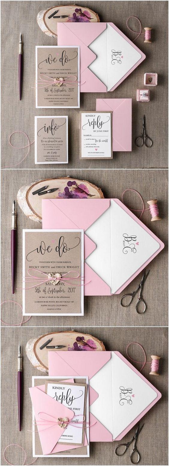 Wedding Invitation Suite, Pink Invitation, Elegant Wedding Invitation, Blush Rustic Invitations