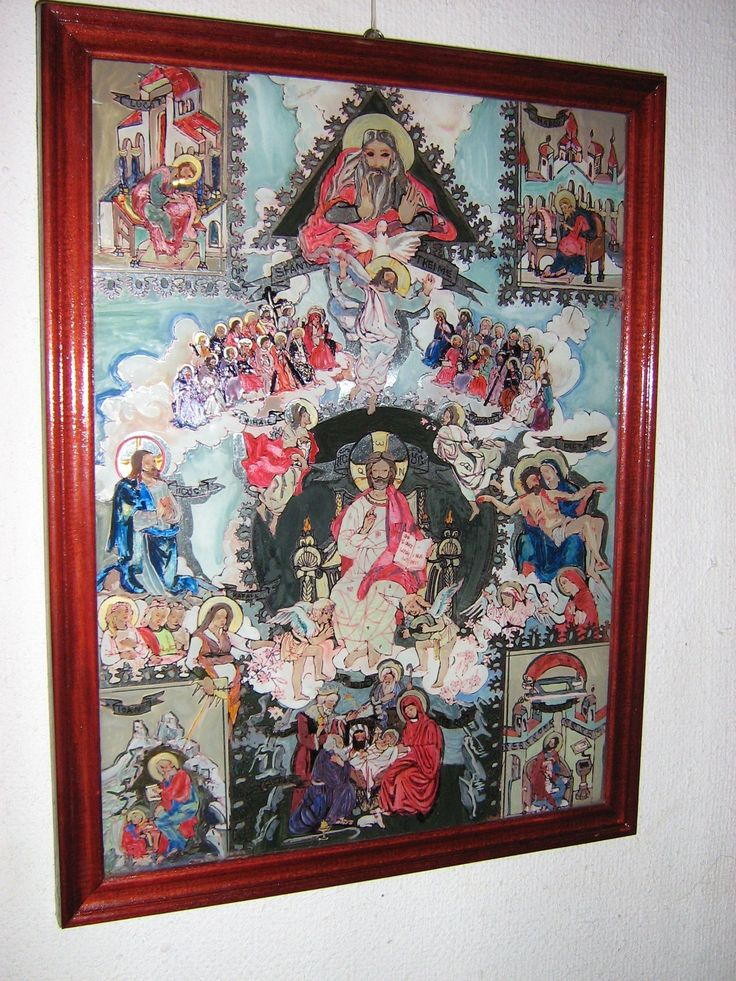 Noul testament, icoana pe sticla, 74x60 cm, VANDUT