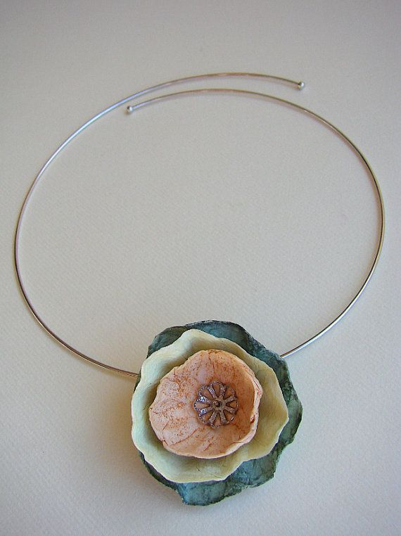 Pendant Necklace Paper Flower Necklace Paper by AlessandraFabre