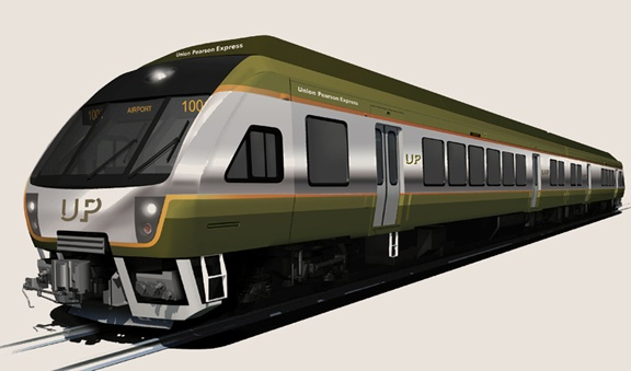 The new Union Pearson Express train that will operate to/from Toronto Pearson Airport (YYZ) in 2015. Metrolinx