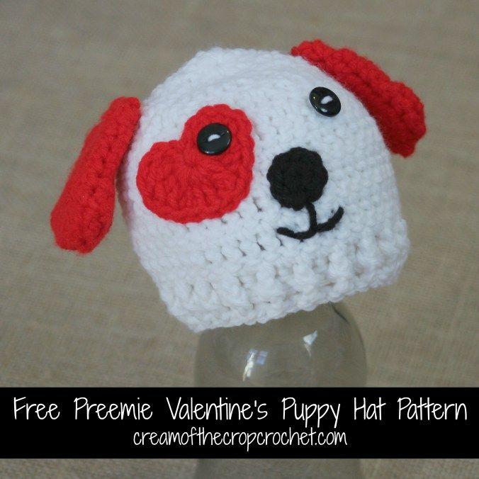 Cream Of The Crop Crochet ~ Preemie Valentine's Puppy Hat {Free Crochet Pattern} http://www.creamofthecropcrochet.com/2015/02/free-preemie-valentines-puppy-hat-pattern/