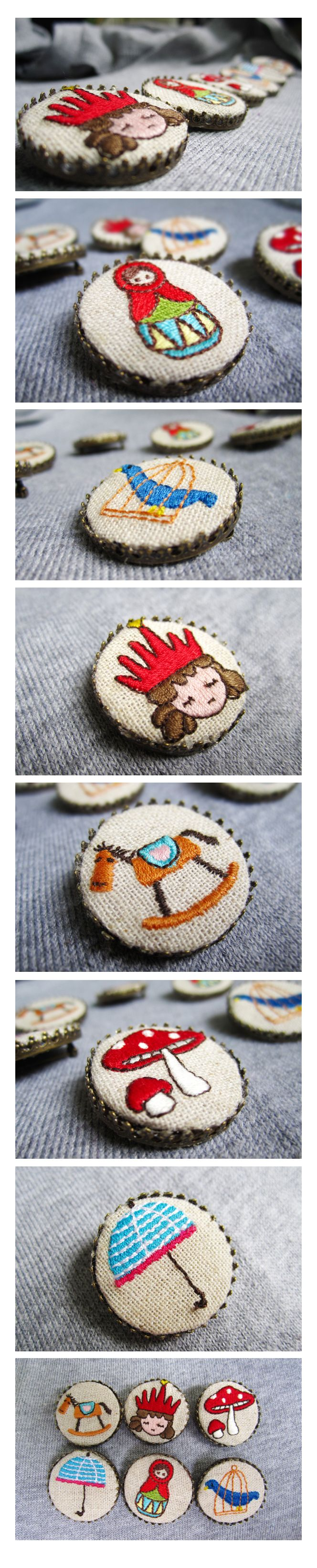 Tiny embroidery-- could you actually cover buttons like this and use them for embellished clothing, I wonder....