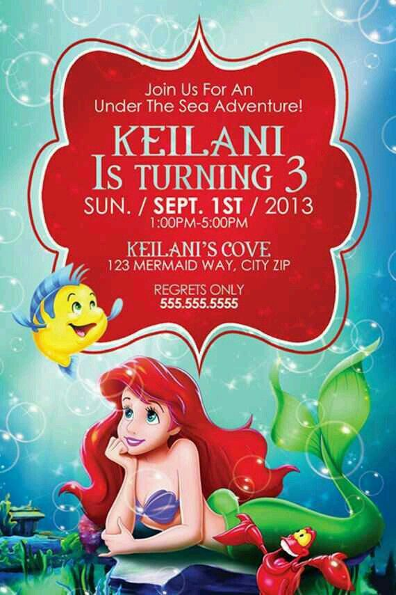 The Little Mermaid bday invitation