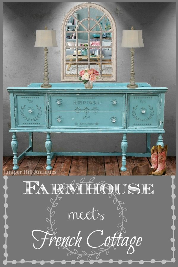 French Stenciled Buffet Farmhouse Shabbychic Shabby Chic Furniture Chic Furniture Vintage Furniture
