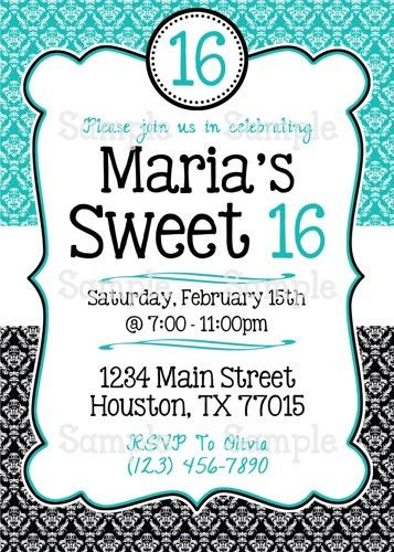 Printable Sweet 16 Teal Black Damask Personalized Birthday ...