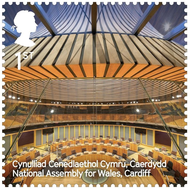 The UK's Best Contemporary Architecture Celebrated in New Stamp Series,National Assembly for Wales / Rogers Stirk Harbour + Partners. Image Courtesy of Royal Mail