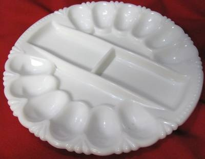 SMITH MILK GLASS DEVILED EGG RELISH PLATE