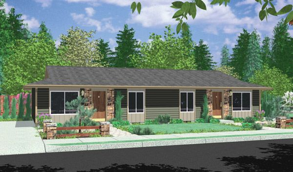 Plan 8150lb Ranch Duplex In 2020 Ranch Style House Plans Duplex Design Duplex Floor Plans