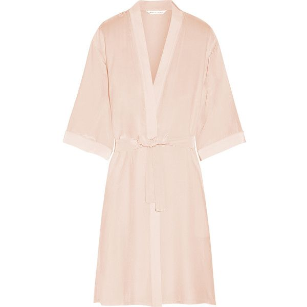 Mimi Holliday by Damaris - Puffin Silk Crepe De Chine Robe ($100) ❤ liked on Polyvore featuring intimates, robes, pastel pink, silk bath robes, bath robes, silk dressing gown, pink silk bathrobe and pink silk robe
